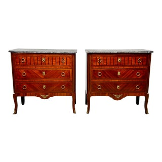 French Louis XVI Style Mahogany Marble-Top Commodes - Pair For Sale