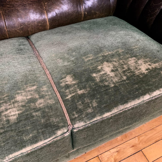 Leather Danish 1930s Art Deco Green Leather Channeled Sofa For Sale - Image 7 of 11