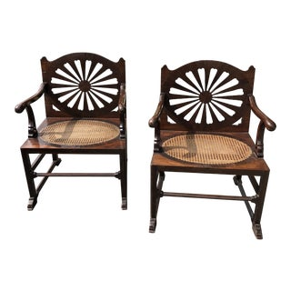 Fine 18th Century English Mahogany Hall Chairs With Oval Cane Seats, a Pair For Sale