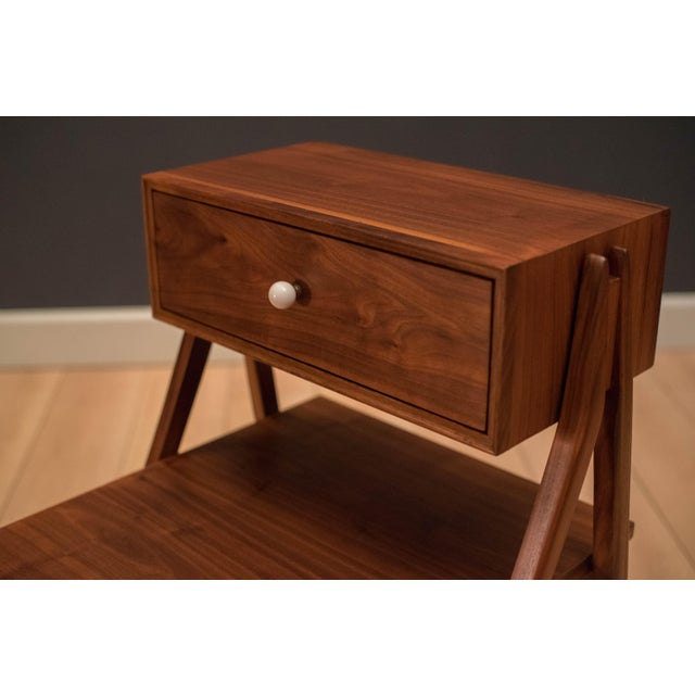 Mid Century Walnut Floating Nightstands by Drexel Declaration For Sale - Image 9 of 13
