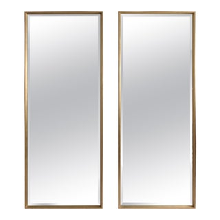 Large Midcentury Style Silver Gilt Modern Full Length Mirrors - A Pair For Sale