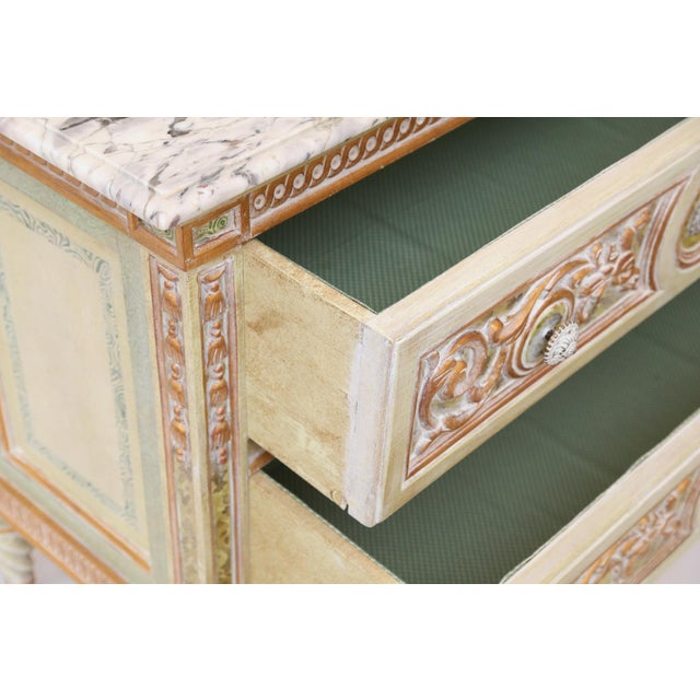 Painted Venetian Style Commode With Marble Top For Sale - Image 9 of 12