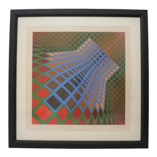 Vintage Vasarely Pencil Signed and Numbered Limited Edition 67/250 Op Art Original Print Custom Framed For Sale