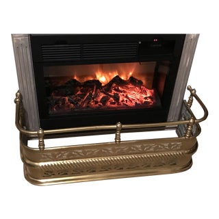 Early 21st Century Antique English Brass Fireplace Surround For Sale