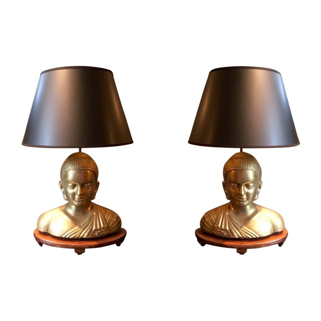 Vintage Solid Brass Buddha Lamps - Pair - Image 1 of 7
