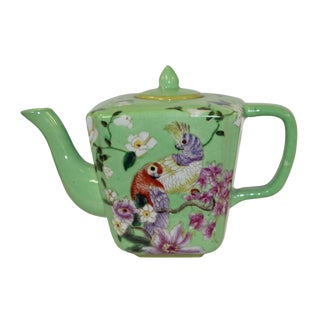 Ceramic Decorative Green Color Teapot With Parrot and Flowers Painting For Sale