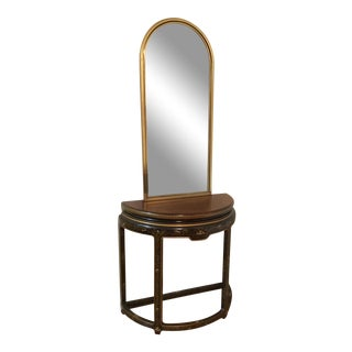 Vintage Chinoiserie Drexel Heritage Mahogany Half Moon Foyer Console Table and Mirror For Sale