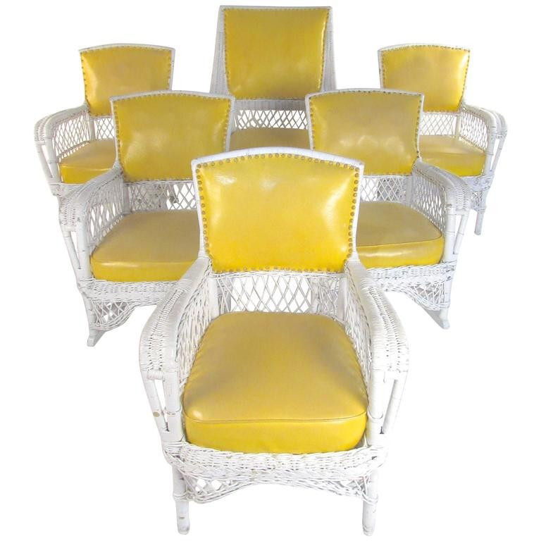 Vintage Wicker And Vinyl Patio Chairs   Set Of 6 For Sale   Image 11 Of