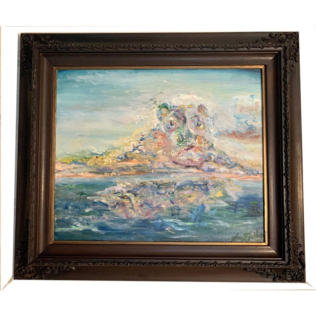 """Contemporary """"Storm Brewing"""" Contemporary Seascape Oil Painting by Nancy T. Van Ness, Framed For Sale - Image 3 of 5"""