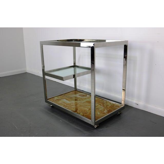 Mid-Century Chrome Glass & Onyx Bar Cart - Image 3 of 8
