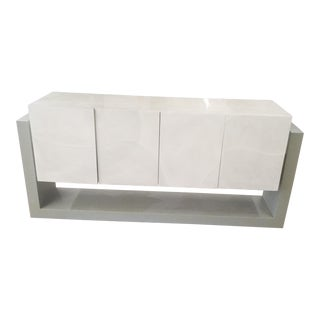 Faux Parchment Floating Illuminated Credenza For Sale