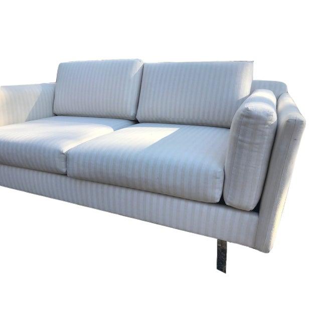 Mid-Century Modern White Linen Sofas - a Pair - Image 3 of 7