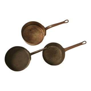 Antique French Copper Pots and Pans - 3 pieces For Sale