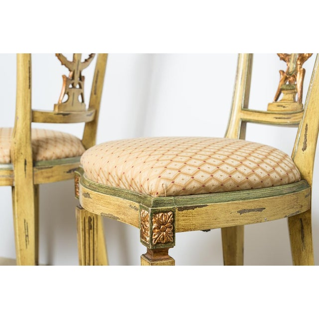1960s Italian Louis XVI Style Painted & Gilt Chairs - Set of 4 For Sale - Image 5 of 13