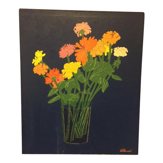 1970s Colorful Zinnias Painting - Image 1 of 6