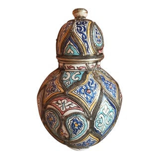 Vintage Moroccan Handpainted Urn Vase With Inlaid Metal Filigree For Sale