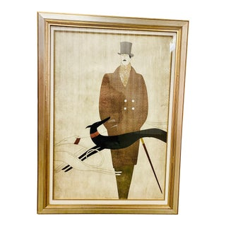 Large Scale Signed and Numbered Art Deco Serigraph by Augustine 2 of 2 Male Figure For Sale