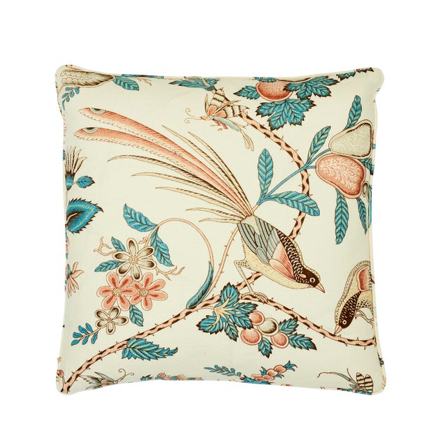 Sky Blue Schumacher Campagne Pillow in Peacock & Rouge For Sale - Image 8 of 8