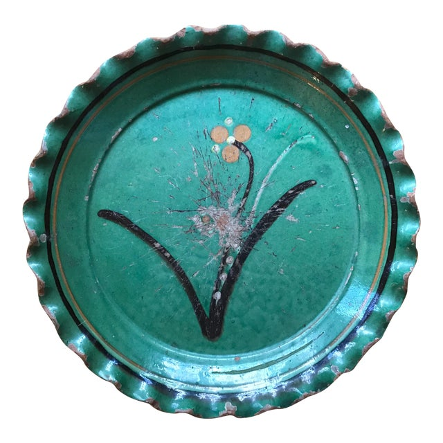 Vintage French Provincial DeMarnaz Green Pottery Platter With Black and Ochre Flower Decoration For Sale