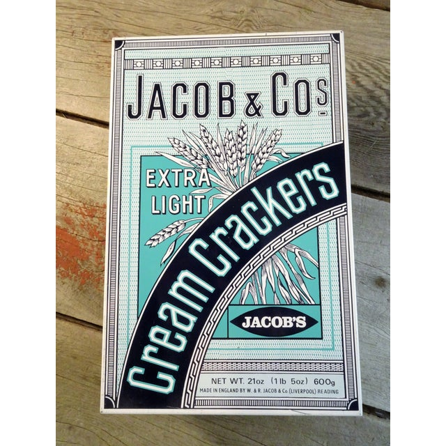 Cream Crackers, the original and best since 1885. By appointment to her majesty the queen. Jacob & Co tin cream cracker...