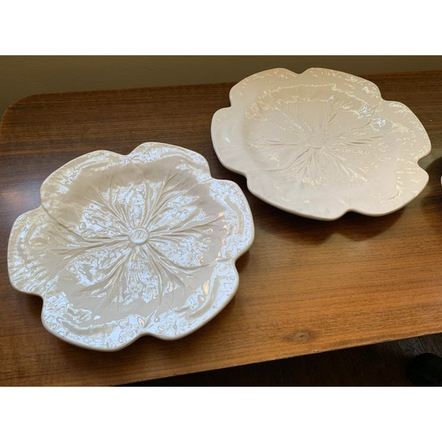 1980s Vintage Bordallo Pinheiro, White Majolica Cabbage Plates - Set of 3 For Sale - Image 9 of 11