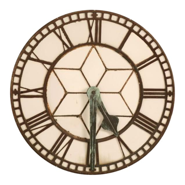 Circa 1860 Cast Iron English Clock Face With Copper Hands For Sale