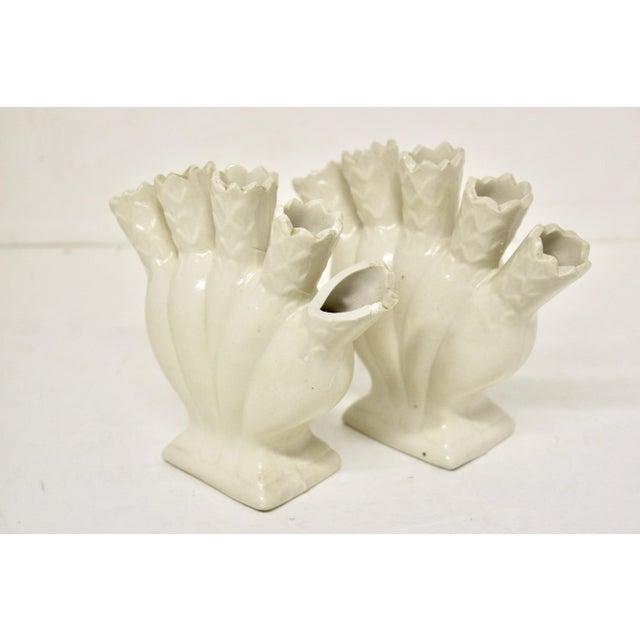 Salt Glaze Ceramic Tulipiere Vases, Pair For Sale - Image 4 of 6