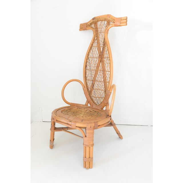 Mid-Century Modern Mid Century Rattan Horn Chair For Sale - Image 3 of 4