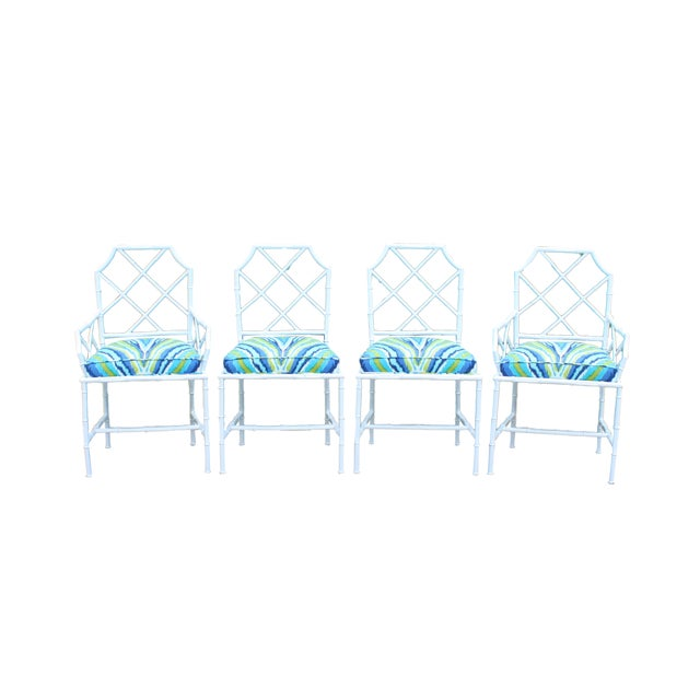 Chinoiserie Faux Bamboo Metal Chairs - Set of 4 - Image 1 of 6