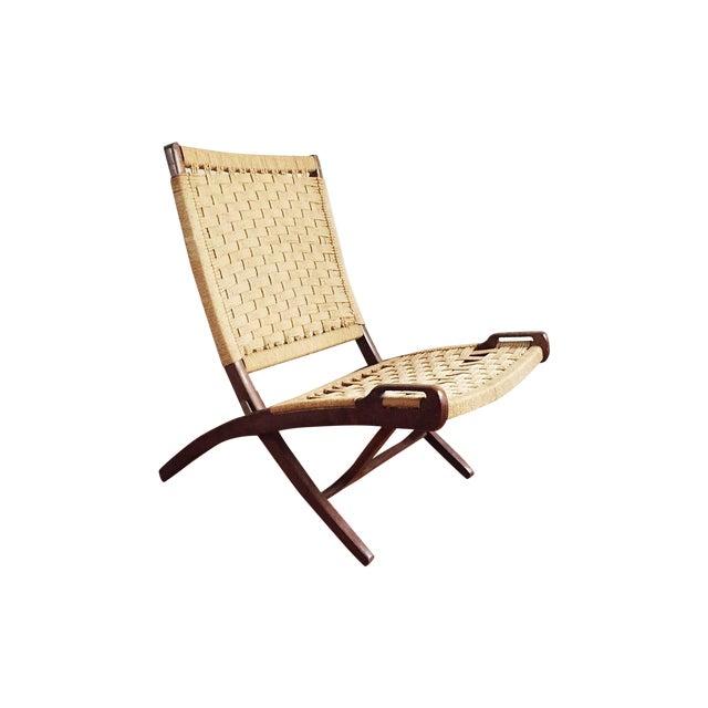 Hans Wegner Style Walnut Folding Jute Chair - Image 1 of 4