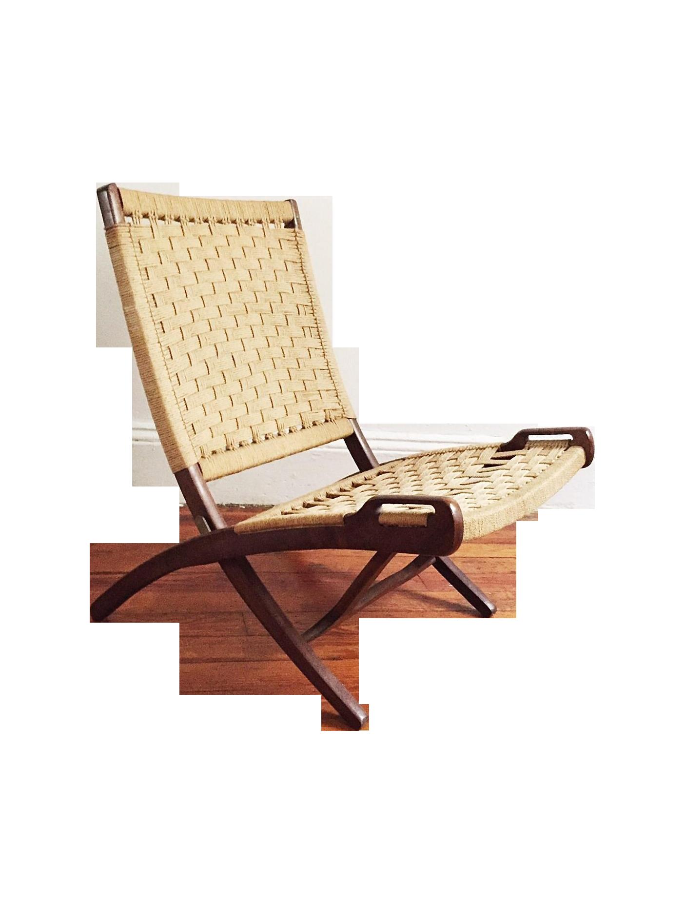 Hans Wegner Style Walnut Folding Jute Chair