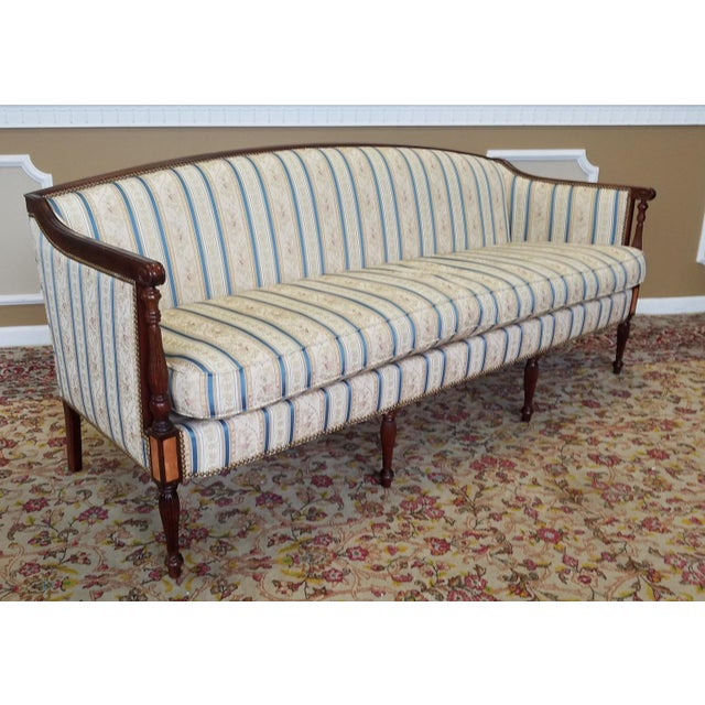 Description: Very clean and fantastic Hickory Chair Company Sheraton style mahogany sofa from the James River Collection,...