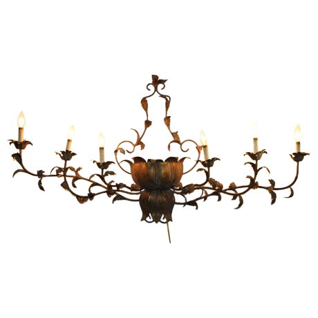 Large Brass Italian Gilded Lotus Wall Sconce - Image 1 of 6