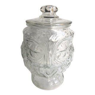 1970s Shabby Chic Libbey Glass Mr. Owl Cookie Jar For Sale