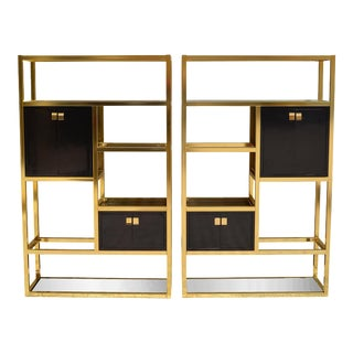 Vintage Custom Modern Brass and Lacquer Etageres - a Pair