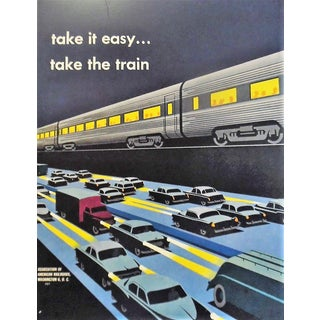 Take It Easy...Take the Train 1950s Transportation Poster For Sale
