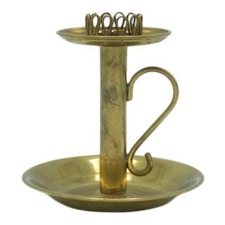 1950's Swedish Modern Brass Filigree Candle Holder For Sale
