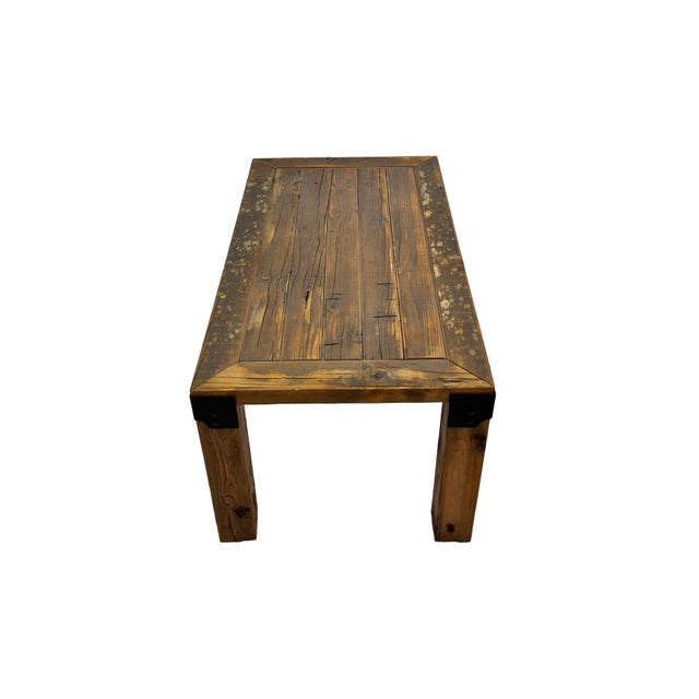 Reclaimed Handmade European Imported Industrial Wood Coffee Table by DARVO For Sale - Image 5 of 6