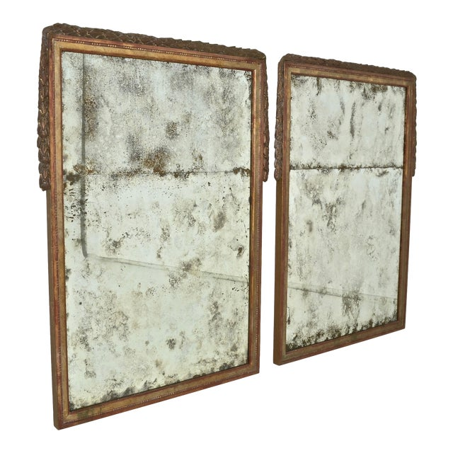 Large Niermann Weeks Neoclassical Mirrors with Antiqued Glass - a Pair For Sale