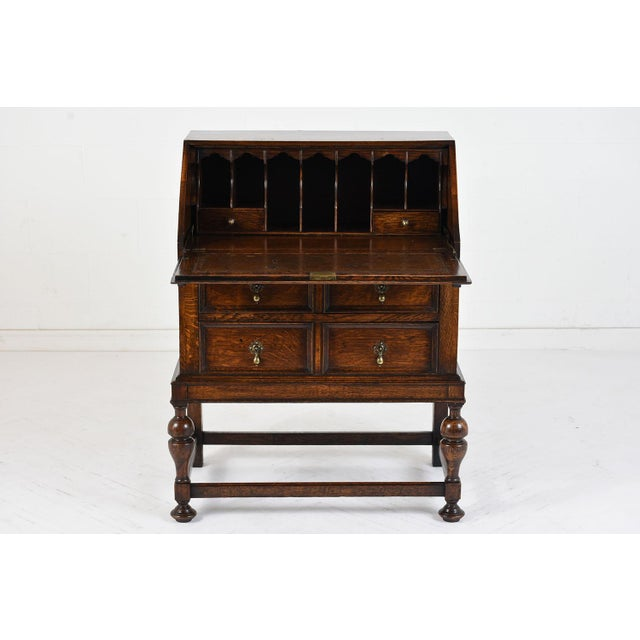 Animal Skin 19th Century Jacobean-style Drop-Front Desk For Sale - Image 7 of 10