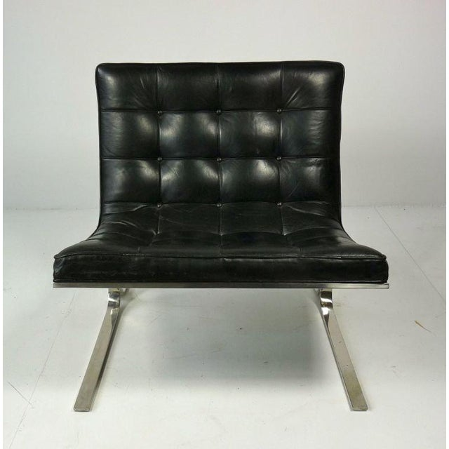 Nicos Zographos Black Leather Lounge Chair - Image 4 of 6