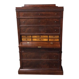 Neoclassical Mahogany Tall Chest With Butler's Desk Secrétaire à Abattant For Sale