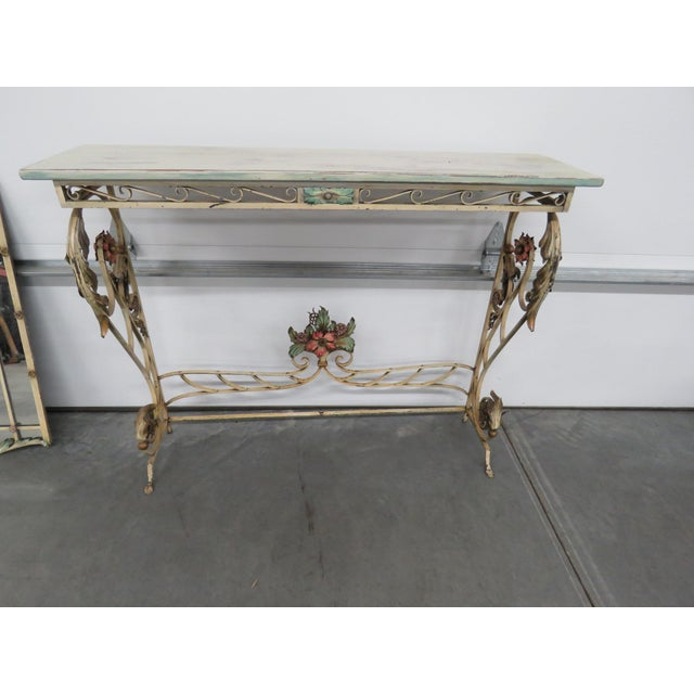 Italian Venetian Style Wrought Iron Console and Mirror For Sale - Image 3 of 12