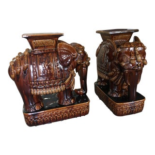 1970s Vintage Coffee-Colored Glazed Ceramic Asian Elephant Garden Stools - A Pair For Sale