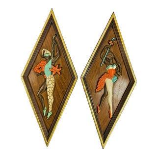 Mid Century Kitsch Turner Nubian Harlequin Jester Wall Art - A Pair For Sale