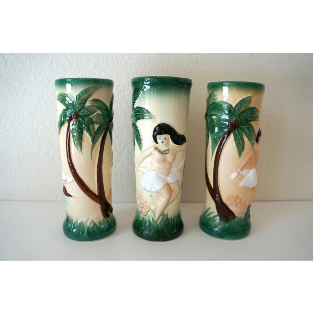 Vintage Harveys Hula Girl Palm Tree Tiki Mugs - 3 - Image 3 of 5