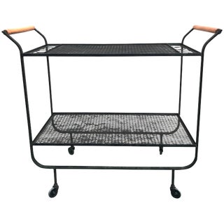 1950s Modernist Frederick Weinberg Wrought Iron Bar Cart For Sale