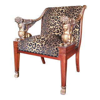 Vintage Sphinx Egyptian Revival Leopard Print Chair For Sale