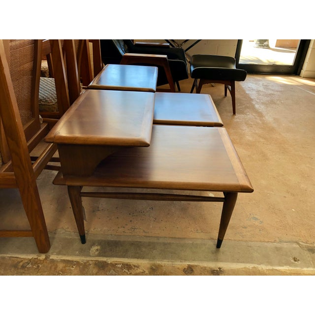 1960s 1963 Mid Century Modern Lane Walnut Step Side Tables - a Pair For Sale - Image 5 of 6