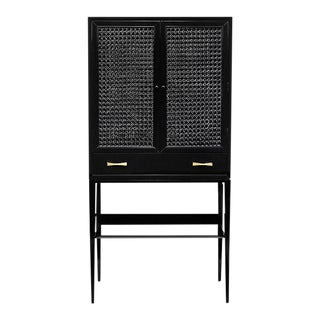 Black Caned Bar Cabinet For Sale